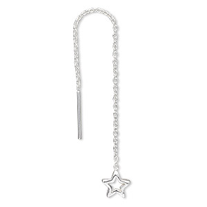 ear thread, sterling silver, 2-3/4 inch cable chain with 6.5x6.5mm open star. sold per pair.