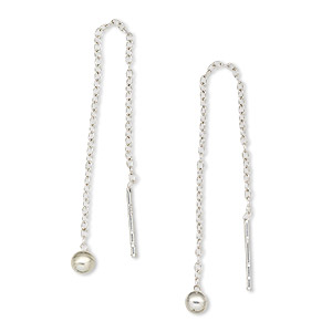 Ear Thread Sterling Silver 2 3 4 Inches With Cable Chain And 3mm Ball Sold Per Pair
