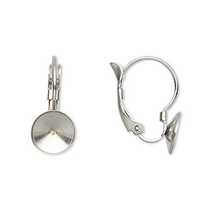 Ear Wire Almost Instant Jewelry Stainless Steel 19mm Leverback With Ss39 Rivoli Setting Sold Per Pkg Of 2 Pair