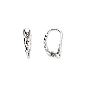 Ear Wire Sterling Silver 16mm Leverback With 11x3mm Diamond Cut Shield And Closed Loop Sold Per Pair
