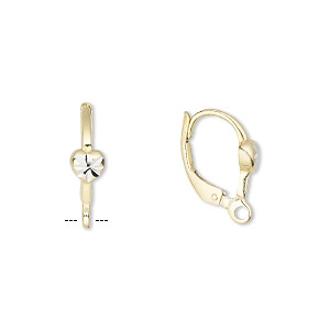 Ear Wire Sterling Silver And Vermeil 16mm Leverback With 4 5mm Diamond Cut Heart Closed Loop Sold Per Pair