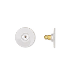 earnut, acrylic and gold-plated aluminum, clear, 12x7mm comfort clutch. sold per pkg of 50 pairs.