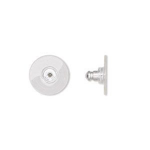 earnut, aluminum and acrylic, clear, 12x7mm comfort clutch. sold per pkg of 5 pairs.