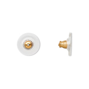 earnut, plastic and gold-finished brass, 12x7mm comfort clutch. sold per pkg of 50 pairs.