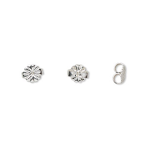 earnut, sterling silver, 6mm daisy. sold per pkg of 5 pairs.