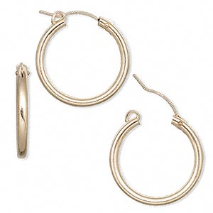 earring, 14kt gold-filled, 22mm flexible round hoop with latch-back closure. sold per pair.