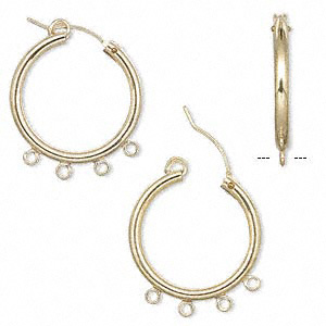 earring, 14kt gold-filled, 24mm round hoop with 4 open loops and latch-back closure. sold per pair.