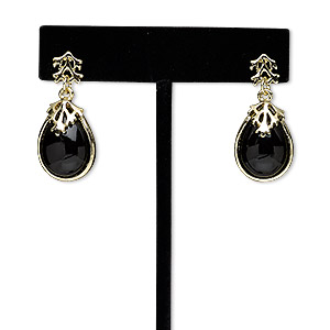 earring, acrylic / steel / gold-finished pewter (zinc-based alloy), black, 33mm with teardrop and post. sold per pair.