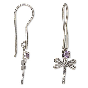 earring, amethyst (natural) and antiqued sterling silver, 38mm with 18x13mm dragonfly and fishhook earwire. sold per pair.