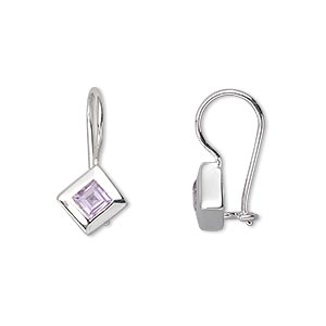 earring, amethyst (natural) and sterling silver, 19mm with 4x4mm diamond and safety. sold per pair.