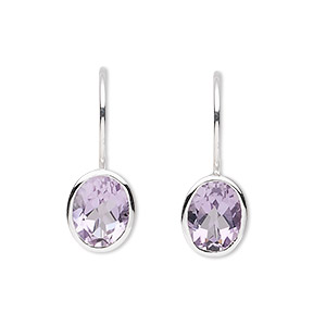 earring, amethyst (natural) and sterling silver, 22mm with 9x7mm faceted oval and fishhook earwire. sold per pair.