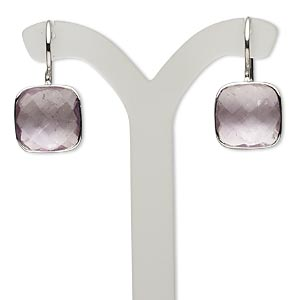 earring, amethyst (natural) and sterling silver, 25mm with 13x13mm faceted cushion and fishhook earwire. sold per pair.
