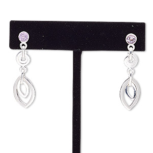 earring, amethyst (natural) and sterling silver, 37mm with post. sold per pair.