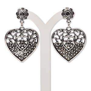 earring, antique silver-plated steel and pewter (zinc-based alloy), 45x28mm with fancy heart and post with (1) pp8 and (1) pp6 chaton settings. sold per pair.