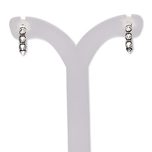earring, antiqued sterling silver, 10.5mm half hoop with spikes and post. sold per pair.