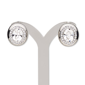 earring, austrian crystal / swarovski crystals / stainless steel / rhodium-plated pewter (zinc-based alloy), clear and crystal clear, 18x16mm oval with post and latch-back closure. sold per pair.