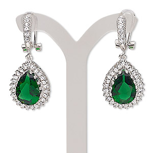 earring, austrian crystal rhinestone / glass / stainless steel / silver-plated brass, emerald green and clear, 36mm with teardrop with latch-back closure and post. sold per pair.