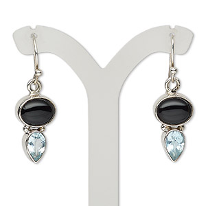 earring, black onyx (dyed) / sky blue topaz (irradiated) / sterling silver, 33mm with fishhook earwire, 21 gauge. sold per pair.