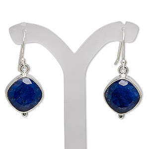 earring, blue sapphire (dyed) and sterling silver, 38mm with diamond and fishhook earwire, 21 gauge. sold per pair.