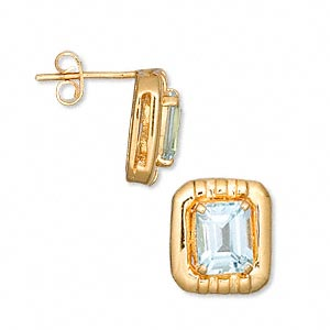 earring, blue topaz (irradiated) and vermeil, 15x13mm rectangle with 9x7mm faceted emerald-cut and post. sold per pair.