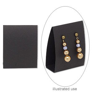 earring card, adhesive and card stock, black, 3 x 2-1/4 inches. sold per pkg of 10.