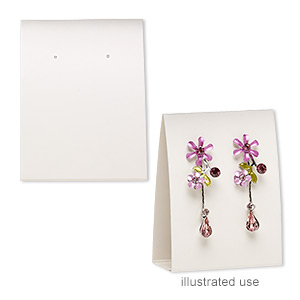 earring card, adhesive and card stock, cream, 3x2-1/4 inches assembled. sold per pkg of 100.