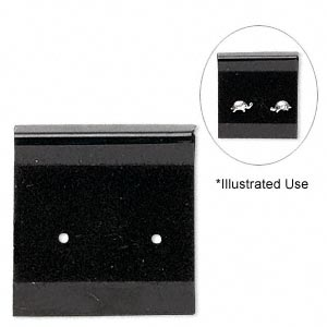 earring card, flocked plastic, black, 1x1-inch square. sold per pkg of 100.