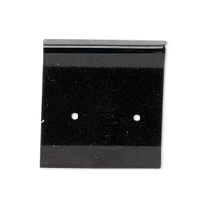 earring card, flocked plastic, black, 1x1-inch square. sold per pkg of 25.