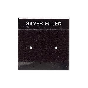 earring card, flocked plastic, black and silver, 1x1-inch square with silver filled. sold per pkg of 100.