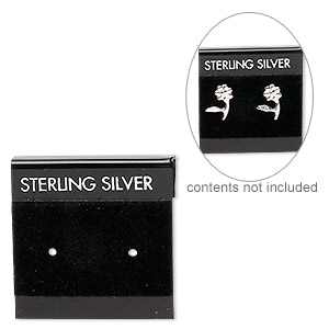earring card, flocked plastic, black and silver, 1x1-inch square with sterling silver. sold per pkg of 25.
