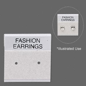 earring card, flocked plastic, grey and black, 1x1-inch square with fashion earrings. sold per pkg of 100.