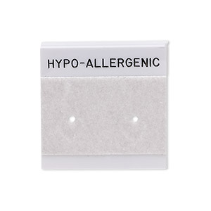 earring card, flocked plastic, grey and black, 1x1-inch square with hypo-allergenic. sold per pkg of 100.