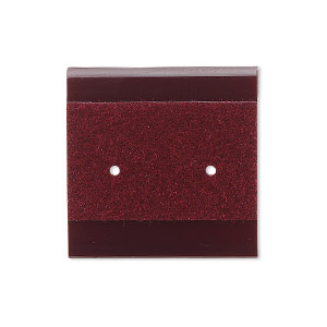 earring card, plastic and velour, burgundy, 1x1-inch square. sold per pkg of 100.