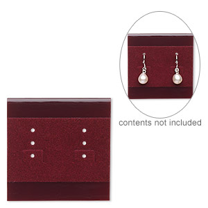 earring card, plastic and velour, burgundy, 2x2 inch square. sold per pkg of 25.