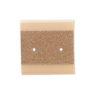 earring card, plastic and velour, camel, 1x1-inch square. sold per pkg of 100.