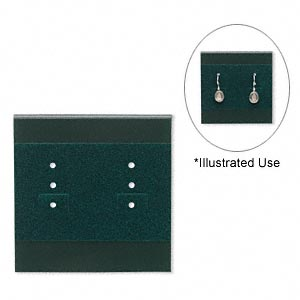 earring card, plastic and velour, green, 2x2-inch square. sold per pkg of 100.