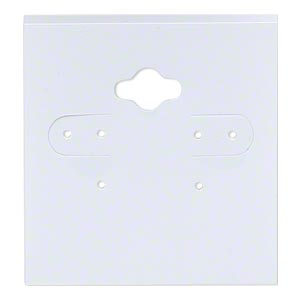 earring card, pvc plastic, opaque white, 2x2 inch square. sold per pkg of 100.