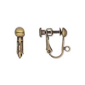 earring, clip-on, antique gold-plated brass, 15mm hinged screwback with 5mm half ball and open loop. sold per pkg of 50 pairs.
