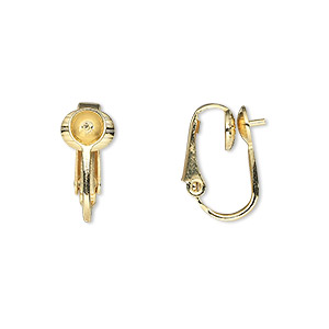 earring, clip-on, gold-plated steel, 16mm hinged with 5mm grooved cup and peg, fits 5mm bead. sold per pkg of 50 pairs.