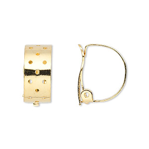 earring, clip-on, gold-plated steel and brass, 18x8mm perforated hoop. sold per pkg of 10 pairs.