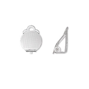 earring, clip-on, silver-plated brass, 11mm hinged with 11mm round flat pad. sold per pkg of 5 pairs.