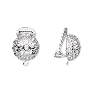 Earring Clip On Silver Plated Br 15mm With 12mm Filigree Half Ball And Closed Loop Sold Per Pkg Of 5 Pairs