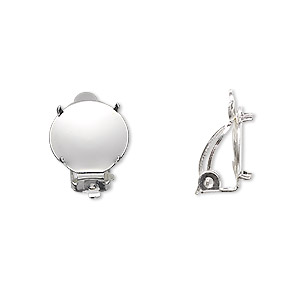 earring, clip-on, silver-plated brass and steel, 13mm round flat pad with 12mm 4-prong round setting. sold per pkg of 10 pairs.