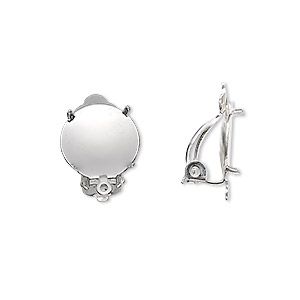 earring, clip-on, silver-plated brass and steel, 13mm round flat pad with 12mm 4-prong round setting and closed loop. sold per pkg of 5 pairs.
