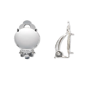 earring, clip-on, silver-plated brass and steel, 14mm round flat pad with 13mm 4-prong round setting. sold per pkg of 10 pairs.