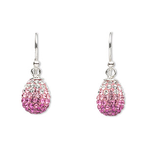 earring, crystal and sterling silver, pink and clear, 22x8mm with 10x8mm teardrop and fishhook earwires. sold per pair.