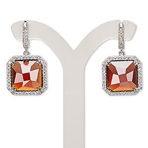 earring, cubic zirconia / glass / rhodium-plated brass, red and clear, 27mm with square and post with latch-back closure. sold per pair.