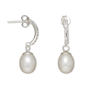 earring, cultured freshwater pearl (bleached) / sterling silver / glass rhinestone, white and clear, 26mm with 10x7mm teardrop and post. sold per pair.