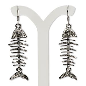 earring, czech glass rhinestone and gunmetal-plated pewter (zinc-based alloy), smoke, 2-1/4 inches with fish skeleton and fishhook earwire. sold per pair.