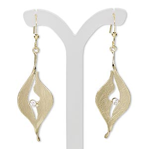 earring, czech glass rhinestone with gold-plated steel and brass, clear, 2-1/4 inches with brushed marquise and cutout design with fishhook earwire. sold per pair.